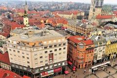 Vue supérieure du centre de la ville de Zagreb Photo libre de droits