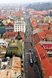 Vue supérieure du centre de la ville de Zagreb Images stock