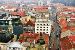 Vue supérieure du centre de la ville de Zagreb, Croatie Photos stock