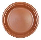 Vue supérieure du plat de dîner brun en céramique d'isolement photos libres de droits