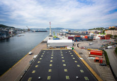 Vue supérieure du port de Bergen Image libre de droits