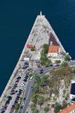 Vue supérieure du port de Kotor, Monténégro Photos stock