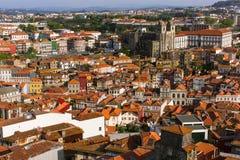 Vue supérieure du vieux centre ville de Porto Photo stock
