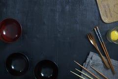 Vue supérieure en bois de table de couleur noire Images libres de droits