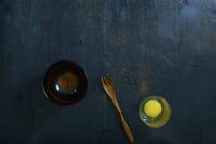 Vue supérieure en bois de table de couleur noire Photos libres de droits