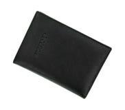 Vue supérieure en cuir noire de support de passeport sous un angle Images stock
