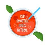 Vue supérieure en verre de smoothie rouge Photographie stock libre de droits
