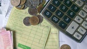 Vue supérieure et x28 ; lay& plat x29 ; de l'illustration pour le calcul de reçu de paiement Photographie stock libre de droits