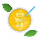 Vue supérieure fraîche de jus d'orange Photographie stock libre de droits