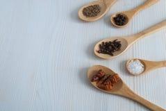 Vue supérieure horizontale de cinq cuillères en bois avec des épices image libre de droits
