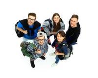 Vue supérieure Jeune groupe de sourire heureux Photographie stock libre de droits
