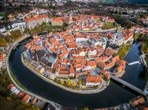 Vue supérieure Krumlov tchèque photos libres de droits