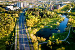 Vue supérieure la de la route dans la ville Image libre de droits