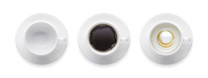 Vue supérieure - la tasse de café noir chaude, la tasse de café vide, 3 dénomment le coffe Photos stock