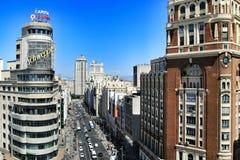 Vue supérieure panoramique de rue de Gran Via à Madrid photos stock