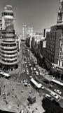 Vue supérieure panoramique de rue de Gran Via à Madrid photos libres de droits