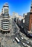 Vue supérieure panoramique de rue de Gran Via à Madrid image stock