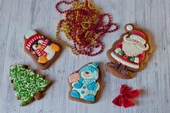 Vue supérieure sur des biscuits de miel pour Noël Image libre de droits