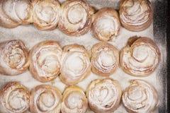Vue supérieure sur des petits pains de pain frais Images stock