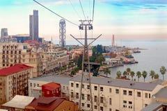 Vue supérieure sur des toits de ville Batumi, situés sur le bord de la mer Concept de voyage de vacances de vacances image libre de droits