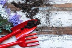 Vue supérieure sur faire du jardinage une pelle remplie d'outil mis en pot de sol et de fleurs pendant le printemps d'été de jard photographie stock