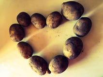 Vue supérieure sur le coeur fait de pommes de terre organiques photographie stock libre de droits
