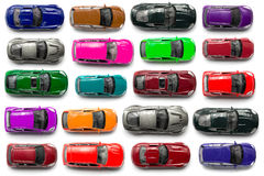 Vue supérieure sur les jouets colorés de voiture Images stock