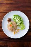 Vue supérieure thaïlandaise de riz frit Photos stock