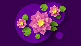 Vue sup?rieure de fond de Lotus In Cartoon Style Dark Illustration de vecteur de dessin anim? Configuration abstraite ?l?ment d?c illustration stock
