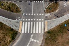 Vue supérieure de chemin de bicyclette, route de bicyclette Photos libres de droits
