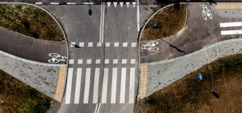 Vue supérieure de chemin de bicyclette, route de bicyclette Photo libre de droits