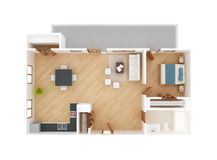 Vue supérieure de plan d'étage d'appartement Photos stock