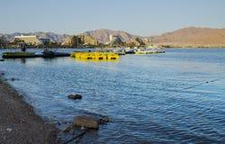 Vue sur des hôtels de ressource dans la ville d'Eilat, Israël Images stock