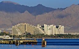 Vue sur des hôtels de ressource d'Eilat, Israël Photos stock