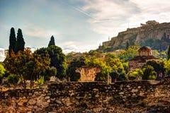 Vue sur l'Acropole de l'agora antique, Athènes, Grèce Image libre de droits