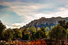 Vue sur l'Acropole de l'agora antique, Athènes, Grèce Photo stock