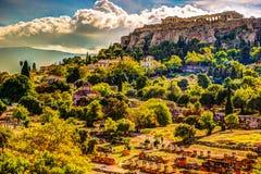 Vue sur l'Acropole de l'agora antique, Athènes, Grèce Photographie stock
