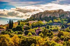 Vue sur l'Acropole de l'agora antique, Athènes, Grèce Images stock