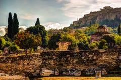 Vue sur l'Acropole de l'agora antique, Athènes, Grèce Photos stock
