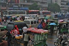 Vue sur l'embouteillage sur le carrefour, Chine Image libre de droits