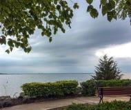 Vue sur la baie géorgienne du banc en bois sous l'arbre de bouleau au parc de point de coucher du soleil dans Collingwood Photos stock