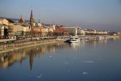Vue sur la banque de Buda de Budapest, Hongrie Photographie stock libre de droits