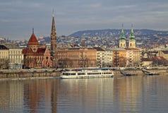 Vue sur la banque de Buda de Budapest, Hongrie Photo stock