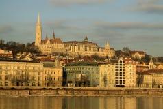 Vue sur la banque de Buda de Budapest, Hongrie Image libre de droits