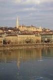 Vue sur la banque de Buda de Budapest, Hongrie Photographie stock