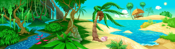 Vue sur la jungle et la mer Photos libres de droits