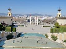 Vue sur la place Placa Espanya, Barcelone, Espagne de l'Espagne Photographie stock