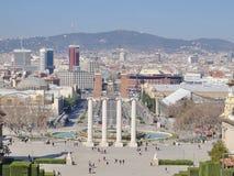 Vue sur la place Placa Espanya, Barcelone, Espagne de l'Espagne Images stock