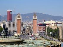 Vue sur la place Placa Espanya, Barcelone, Espagne de l'Espagne Photos libres de droits