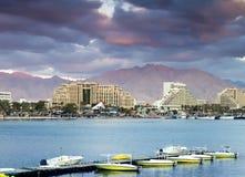 Vue sur la plage de norther d'Eilat, Israël Photos libres de droits